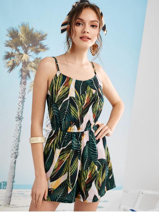 shops ZAFUL Shirred Leaf Print Romper - MULTI S