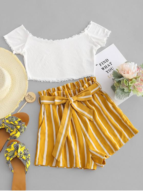 chic ZAFUL Off Shoulder Top And Stripes Shorts Set - MULTI M