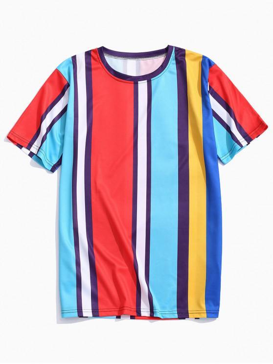 fashion Short Sleeves Colorful Striped Print T-shirt - DEEP SKY BLUE L
