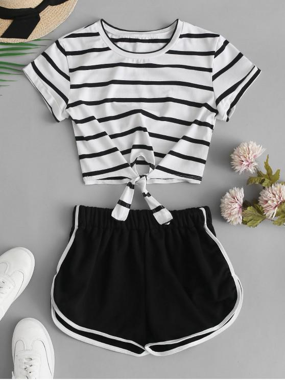 best Striped Knotted Crop Tee and Shorts Set - BLACK M
