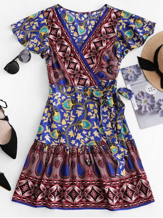 latest ZAFUL V Neck Floral Print Wrap Dress - OCEAN BLUE S