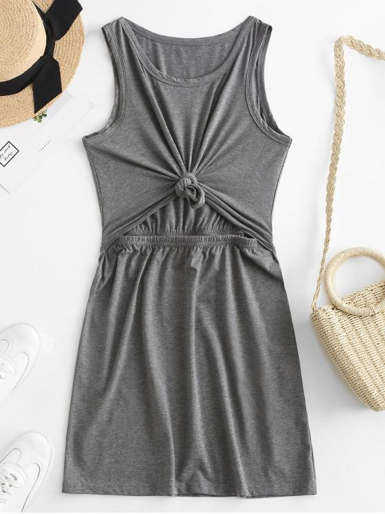 fashion ZAFUL Cut Out Knotted Tank Bodycon Dress - BATTLESHIP GRAY S