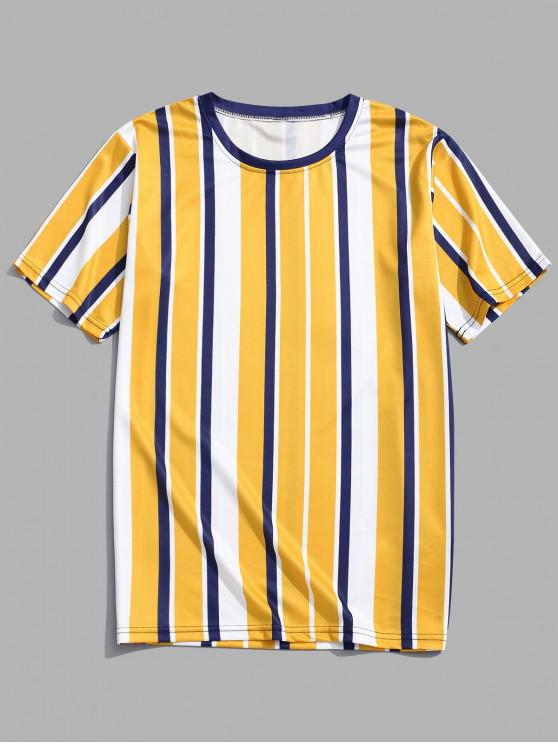 fashion Short Sleeves Vertical Stripes Print Casual T-shirt - GOLDEN BROWN M