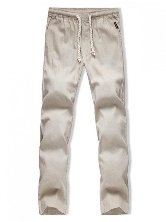hot Long Straight Casual Solid Color Pants - KHAKI L