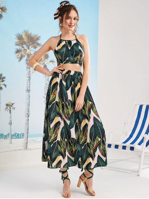 new ZAFUL Leaves Print Knotted Back Maxi Skirt Set - MULTI S Mobile