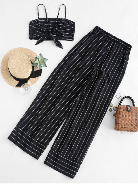 new ZAFUL Striped Knotted Top and Wide Leg Pants Set - BLACK M Mobile