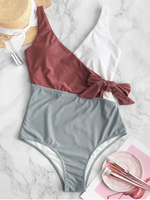 fancy ZAFUL Color Block Surplice Swimsuit - MULTI-A XL Mobile