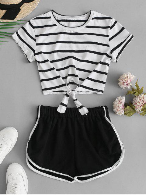 new Striped Knotted Crop Tee and Shorts Set - BLACK S Mobile