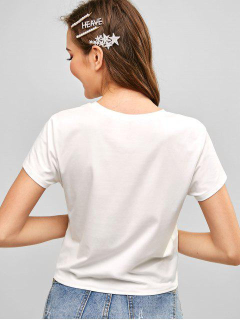 fancy ZAFUL Strawberry Embroidered Knotted Hem Tee - WHITE L Mobile