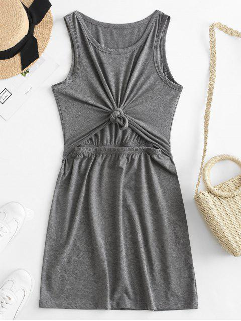 fashion ZAFUL Cut Out Knotted Tank Bodycon Dress - BATTLESHIP GRAY S Mobile