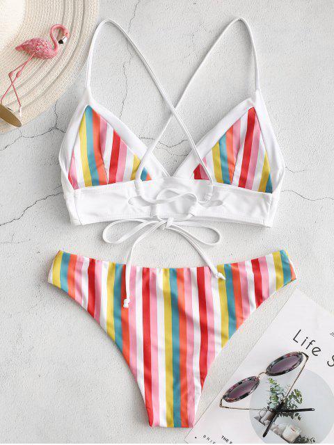 shop ZAFUL Colorful Striped Criss Cross Bikini Set - MULTI-C L Mobile