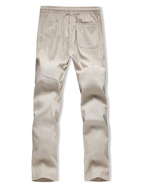 Pantalon Décontracté Droit Long en Couleur Unie - Kaki L Mobile