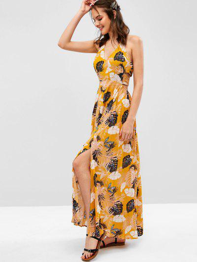 20adbd1a459 ZAFUL Leaves Print Slits Halter Maxi Dress - Bee Yellow S ...