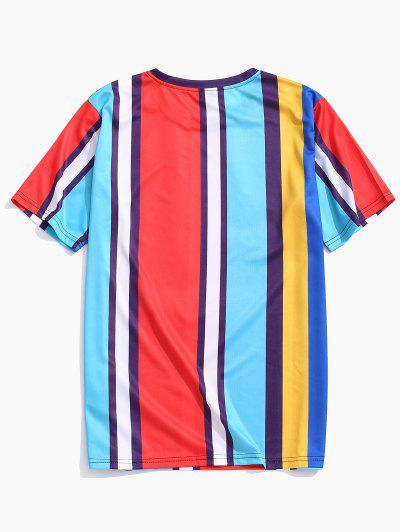 f92630429ad59 ... Short Sleeves Colorful Striped Print T-shirt - Deep Sky Blue L