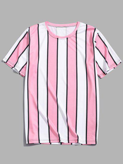 Color Block Striped Print T-shirt - Pink L