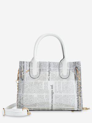 912f599b2f653 حقيبة كتف أنيقة بنمط جريدة شفافة - أبيض