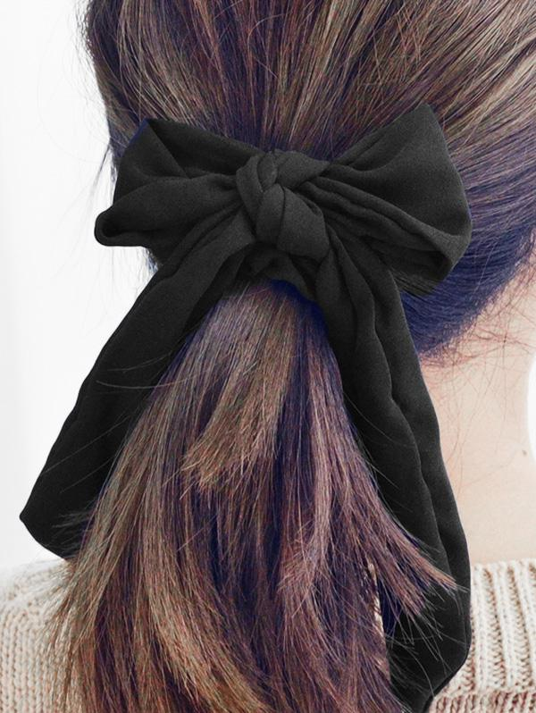 Solid Color Bow Hair Scrunchies, Black
