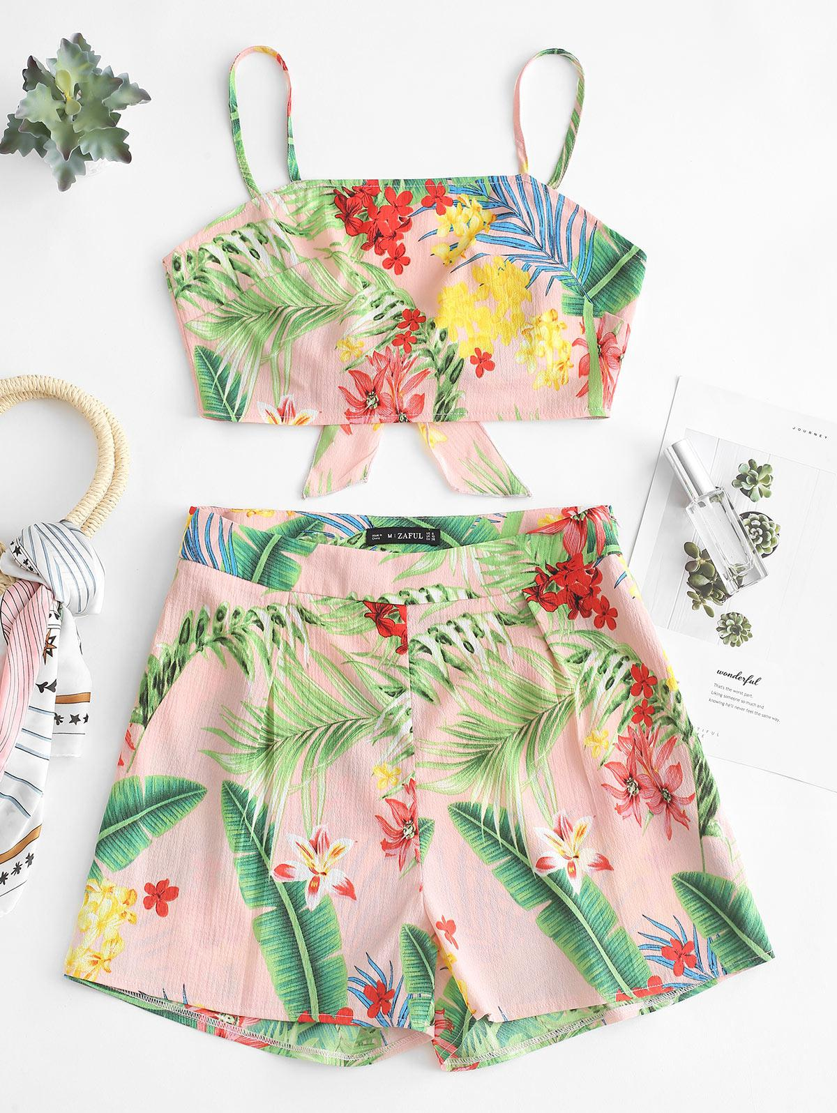 ZAFUL Floral Print Knotted Back Shorts Set, Pink