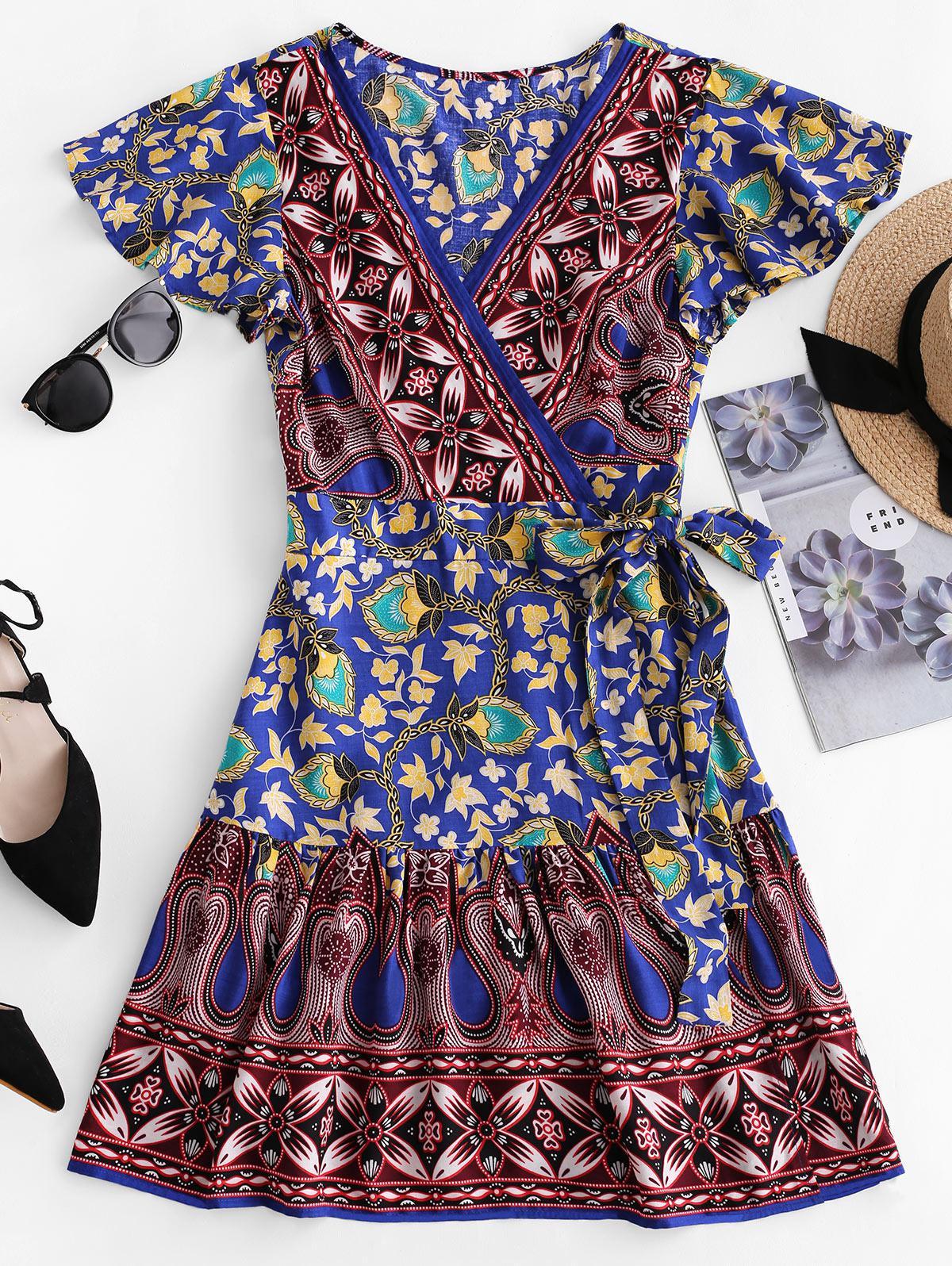 ZAFUL V Neck Floral Print Wrap Dress, Ocean blue