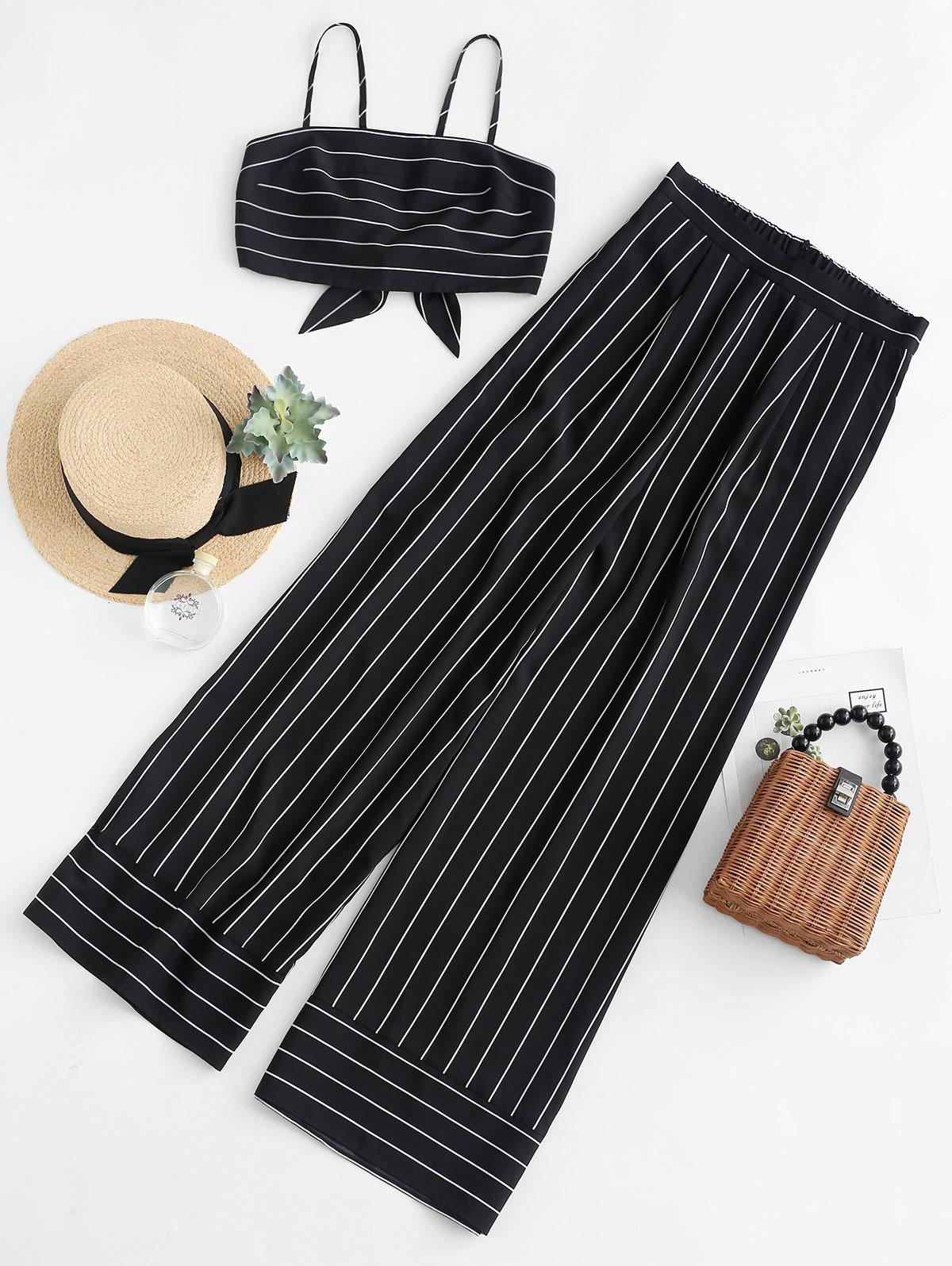 ZAFUL Striped Knotted Top and Wide Leg Pants Set, Black