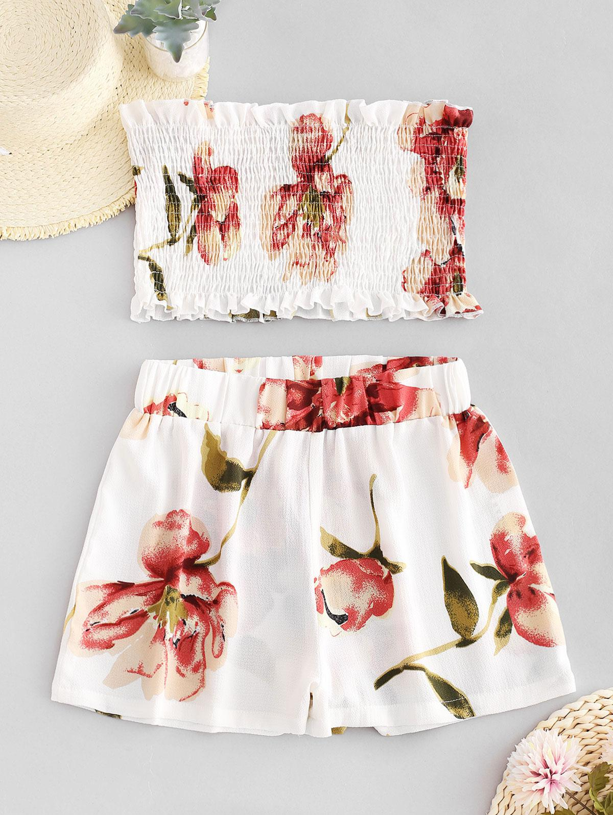 ZAFUL Smocked Floral Bandeau Top And Shorts Set, White