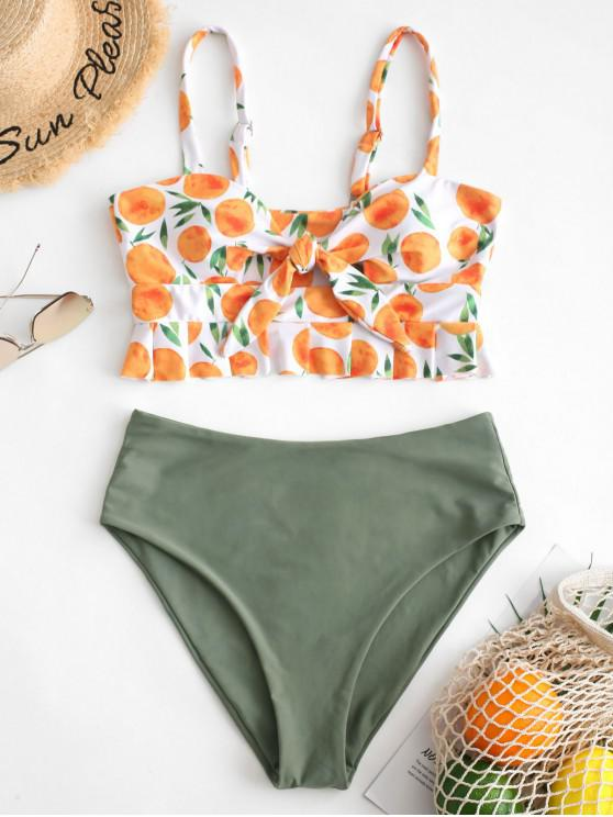hot ZAFUL Orange Print Tied Peplum Tankini Set - SEA GREEN L