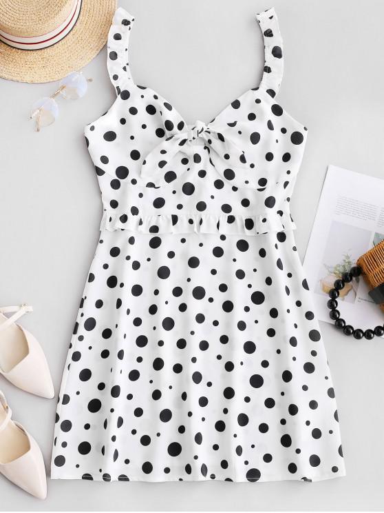shop ZAFUL Polka Dot Frilled Knotted Mini Dress - MILK WHITE L