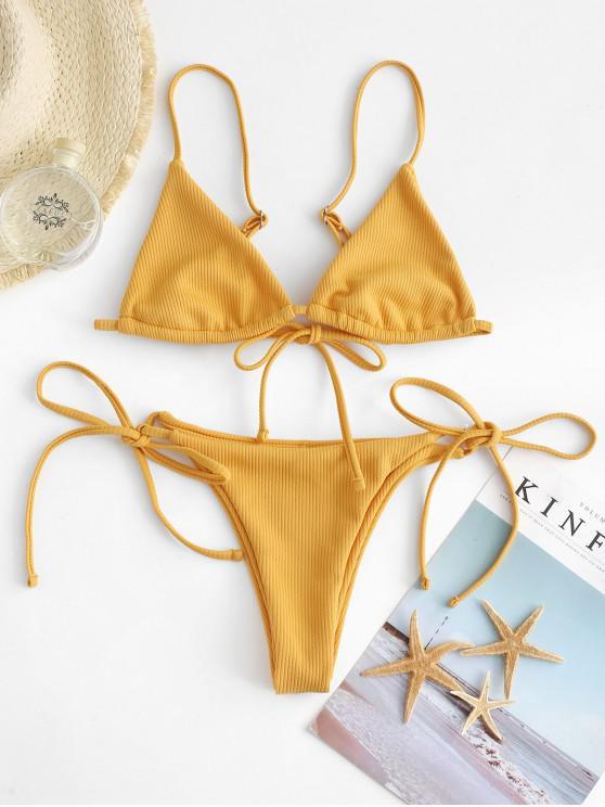 shop ZAFUL Ribbed Bralette String Bikini Set - BEE YELLOW S