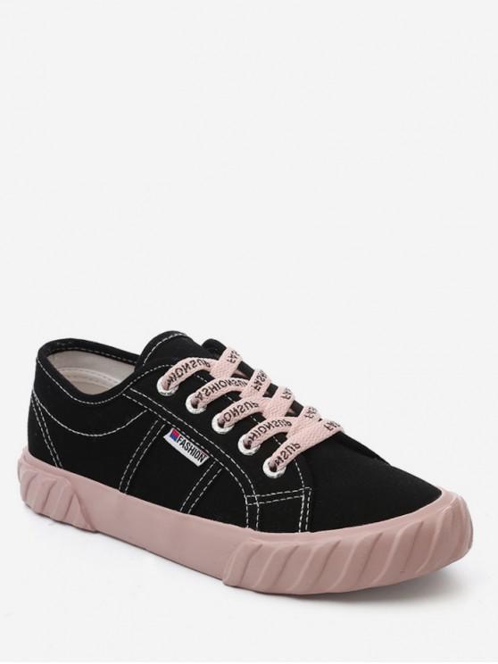 shop Leisure Style Letter Design Sport Shoes - BLACK EU 36