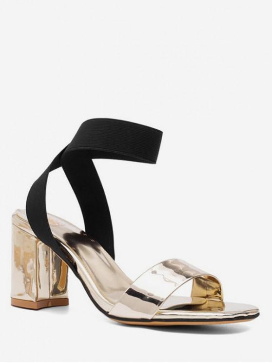 unique Cross Elastic Strap Chunky Heel Summer Sandals - BLACK EU 37