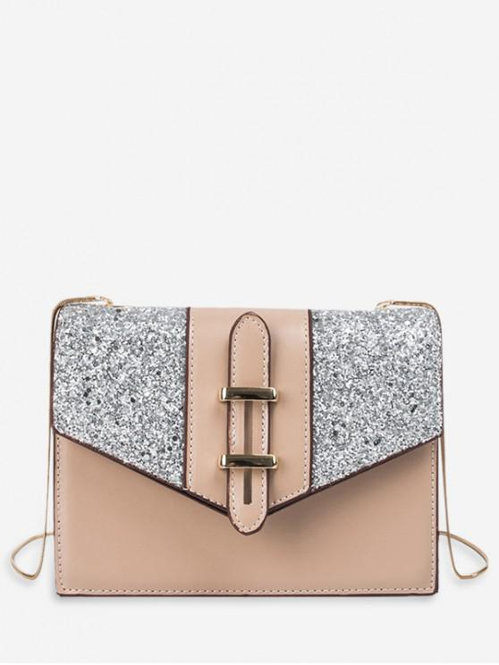 lady Sequined Square Shoulder Bag - LIGHT KHAKI