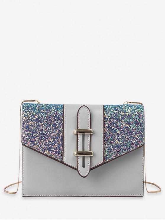 best Sequined Square Shoulder Bag - LIGHT BLUE