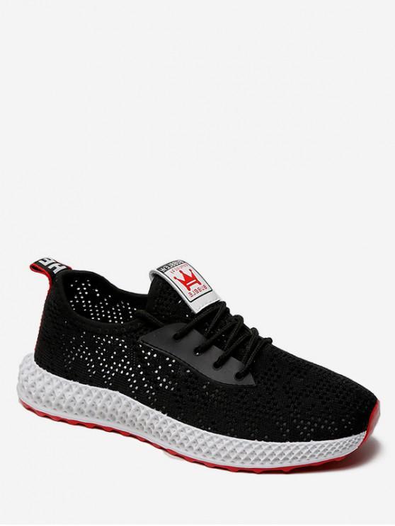 chic Casual Breathable Mesh Sports Shoes - BLACK EU 37
