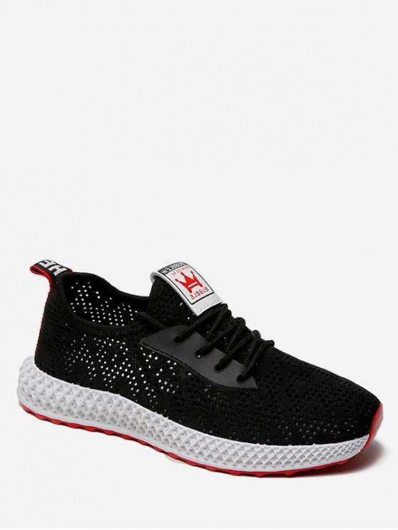 unique Casual Breathable Mesh Sports Shoes - BLACK EU 35