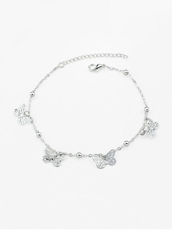 shops Hollow Butterfly Chain Charm Anklet - SILVER
