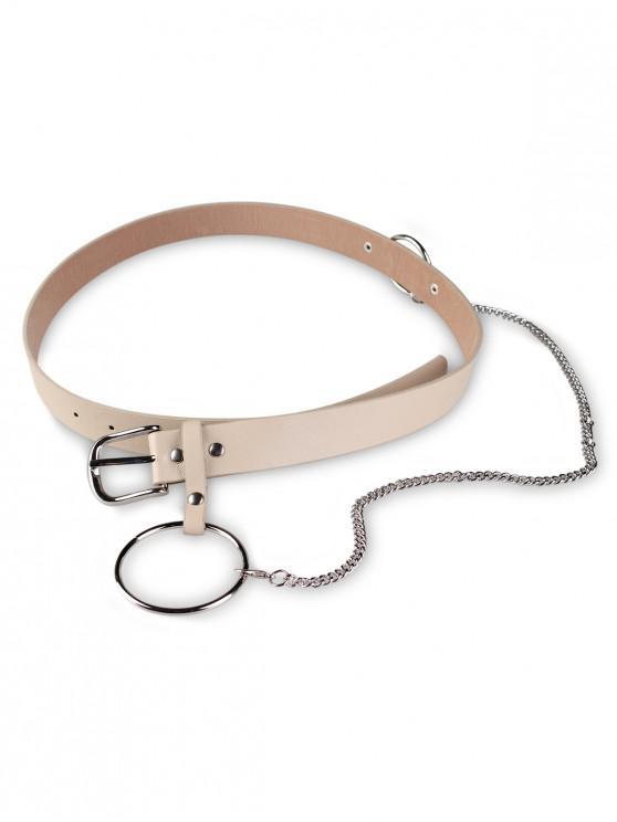 latest Ring Chain Pin Buckle PU Belt - KHAKI