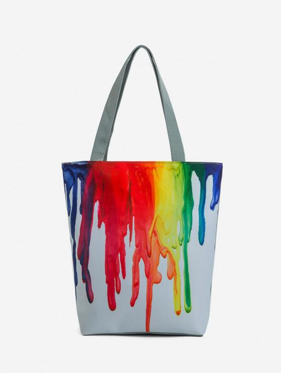 womens Canvas Paint Print Pattern Tote Bag - MULTI