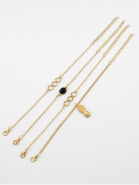 online 4PCS Alloy Pineapple Chain Bracelets - GOLD