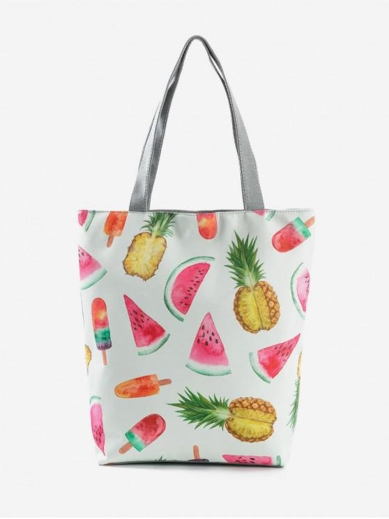 womens Fruit Printed Canvas Tote Bag - COOL WHITE