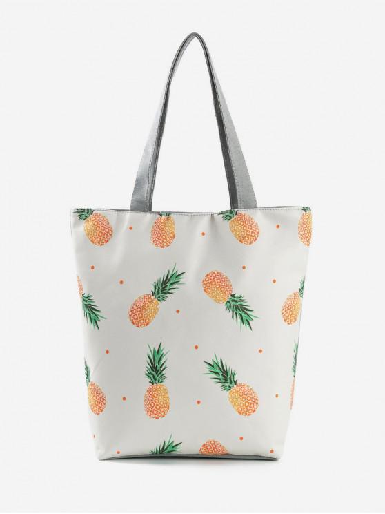 ladies Fruit Printed Canvas Tote Bag - WARM WHITE
