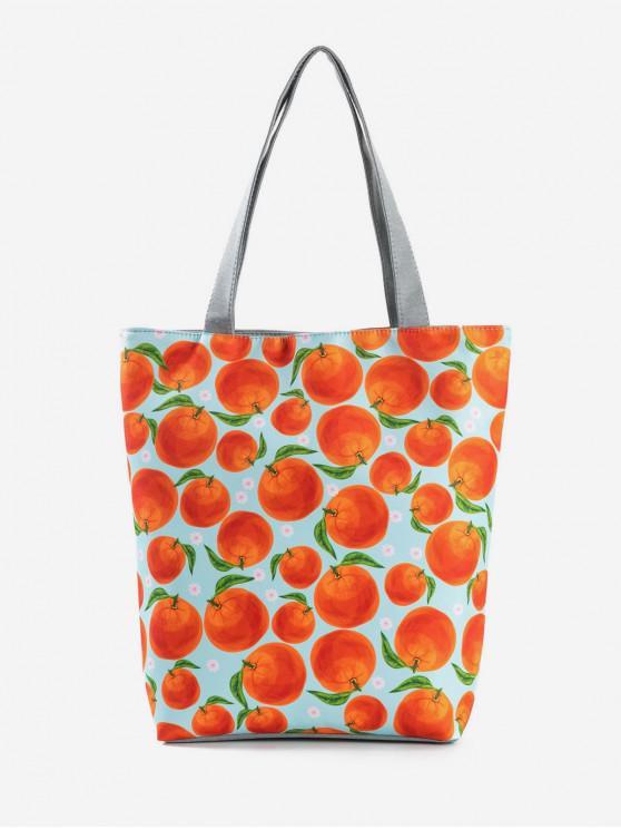 new Fruit Printed Canvas Tote Bag - ORANGE