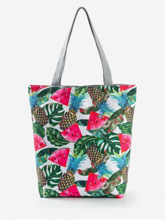 hot Fruit Printed Canvas Tote Bag - MEDIUM SEA GREEN