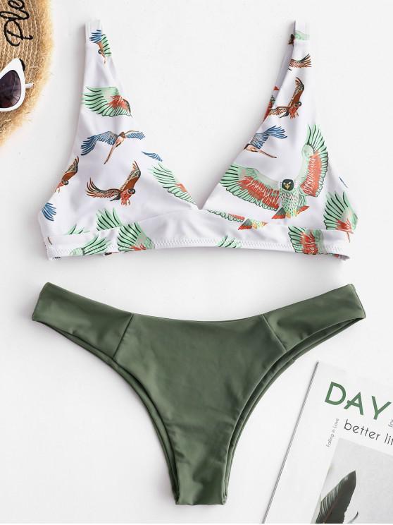 womens ZAFUL Knot Eagle Print Bikini Set - CAMOUFLAGE GREEN L