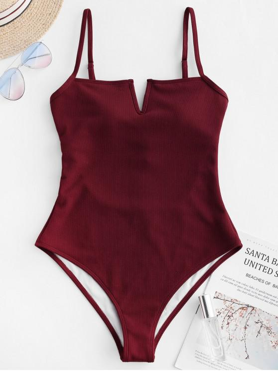 online ZAFUL V-wired Ribbed One-piece Swimsuit - RED WINE L