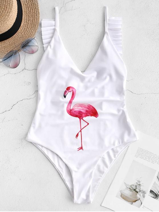 shop ZAFUL Ruffle Drop Armhole Flamingo Swimsuit - WHITE M