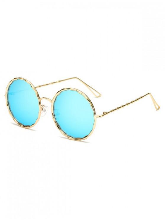 sale Round Rippled Metal Frame Stylish Sunglasses - LIGHT SKY BLUE