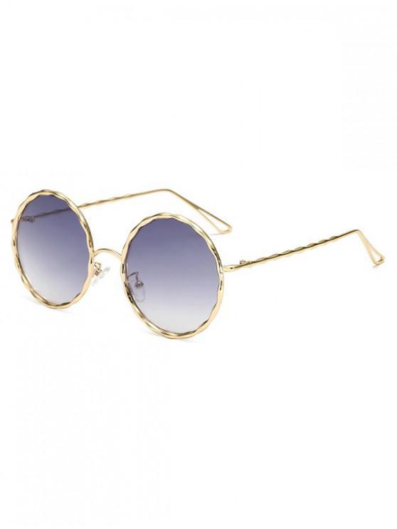 fashion Round Rippled Metal Frame Stylish Sunglasses - GRAY CLOUD