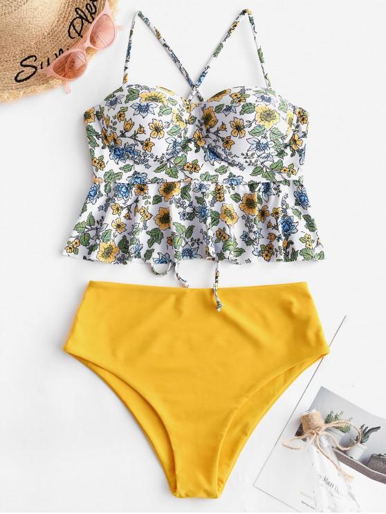 online ZAFUL Floral Lace Up Flounce Push Up Tankini Set - BRIGHT YELLOW XL