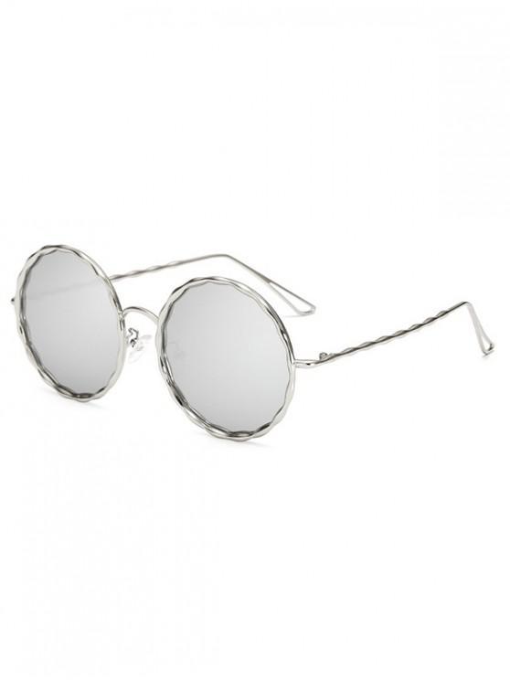 womens Round Rippled Metal Frame Stylish Sunglasses - PLATINUM