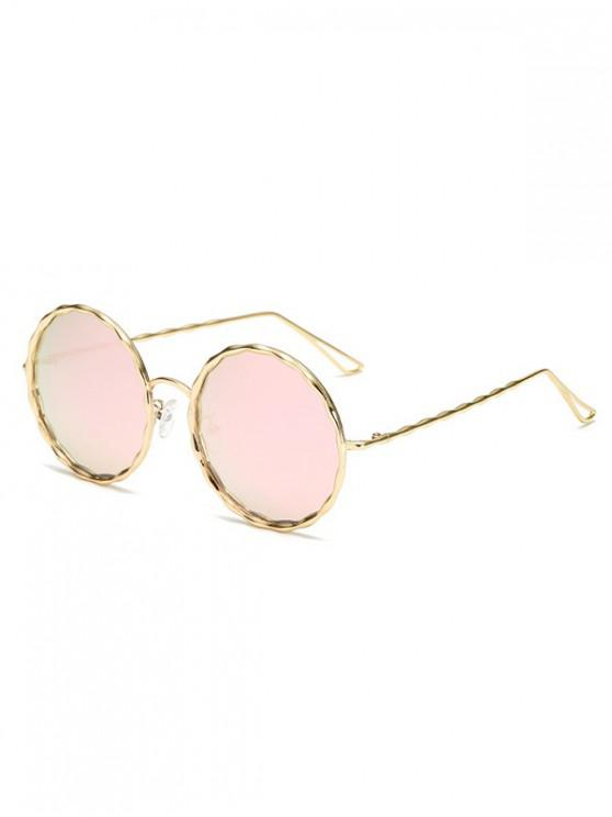 women Round Rippled Metal Frame Stylish Sunglasses - PINK